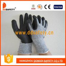 Mousse ultra-fine en nitrile sur les gants de protection contre les coupures sur les paumes et les doigts (DCR420)