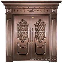 Style Art Entrée extérieure Sécurité Porte métallique en cuivre en acier (W-GB-04)