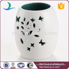 Hollow out pattern white ceramic tealight holder