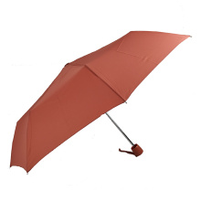 2020 Promotion 3 fold parasol 190t pongee windproof umbrella with wooden handle