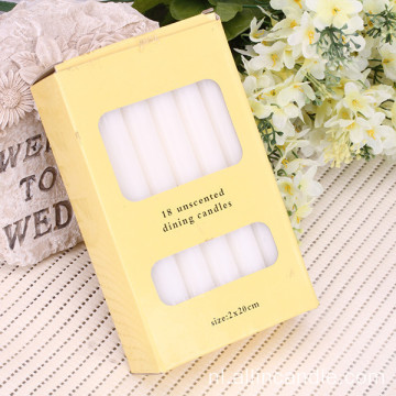 White Tapers Candles met Cotton Wicks