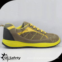 Trendy rainbow style suede leather safety shoes