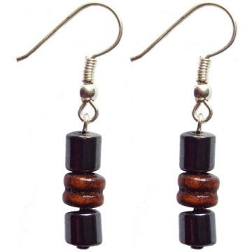 Hematite Earring With 925 Maroon Silver Hook