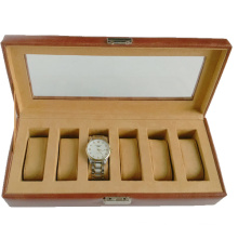 6grids Lockable PU Leather Watch Box with Glass Top Lid