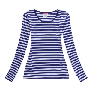 2018 blue and white long striped t shirt