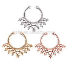 Free sample steel septum piercing Clicker Ring gold planted