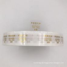hohe Qualität benutzerdefinierte klar Aufkleber Logo Goldfolie Aufkleber Rolle transparent PET Goldfolie Label Aufkleber Rolle