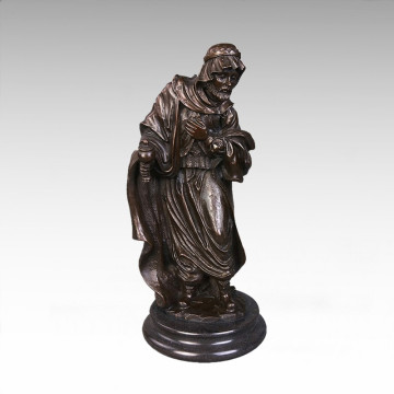 Estatua clásica del hombre viejo escultura de bronce Tpy-063