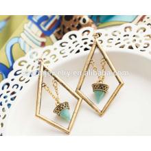 Schöne Art und Weise Retro- elegante Türkis-geometrische Troddel-Ohrringe für Frauen SSEH013