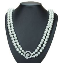 Double Strand Faux White Pearl Necklace