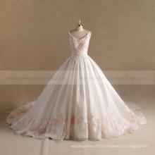 Elegant Rounded V-Neck Brodé Lace Puff A-ligne Robe de mariée
