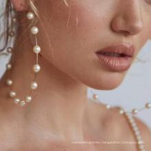 New Fashion Boho White Pearl Round Circle Hoop Earrings Women Large Size Earrings Pearl Earring for Women