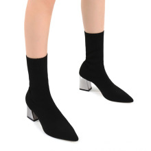 2021 Square Thick Heel Pointed Toe Socks Boots Black High Heel Casual Women′s Short Boots