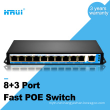 Smart fast ethernet 250 meters oem 48v 11 ports poe switch