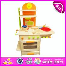 2014 nouveau semblant enfants jouet cuisine, populaire enfants jouet cuisine ensemble et meilleur vendeur en bois bricolage enfants jouet cuisine w10c081a