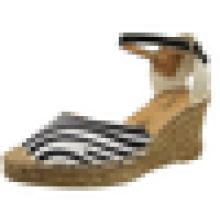 2015 Späteste Entwurfsart und weise reizvolle Mädchen-hohe Absätzefrau Zebra-Streifenschuhkeil-Dameleopard-Sandelholzschuhe