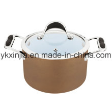 Ustensiles de cuisine 18cm Coffee Color Aluminium Coque en céramique Sauce Pot, ustensiles de cuisine, pâte à pâtes