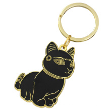 Sample Free Custom Metal Soft Enamel Smart Cat Keychain Key Chain Keyring