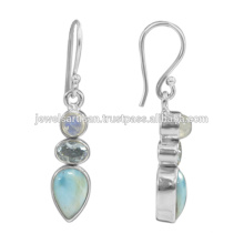 Natural Larimar And Multi Gemstone 925 Sterling Silver Earring Jewelry