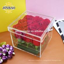 Jinbao clair boîte d'affichage acrylique 15x15x30cm taille personnaliser