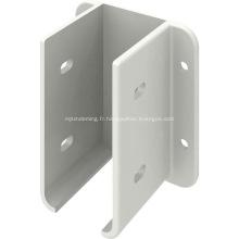 Support de montage de panneau de clôture en métal blanc enduit de poudre