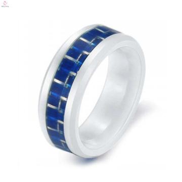 Mais novo anel de cerâmica de fibra de carbono anel amantes coreano branco para anéis dos homens