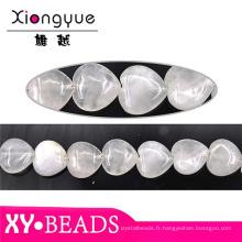 Usine détail coeur opale Bracelet à breloques perles 20x20mm