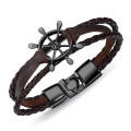 Dames noires et blanches bracelets de charme en cuir mince
