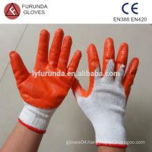 Orange latex coated cotton working safety gloves