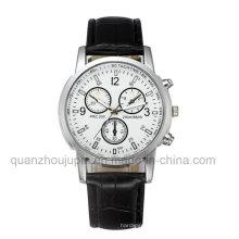 Relógio quente do quartzo de pulso do metal da venda do OEM com bracelete de couro
