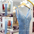 Luxo Full Handmade High Quality Beaded Sequin Mermaid Evening Dresses 2016 Blue Sexy V-neck Custom Made Real Picture ML203