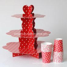 3 Tire papel ondulado personalizado projetado Display bolo stand para festa