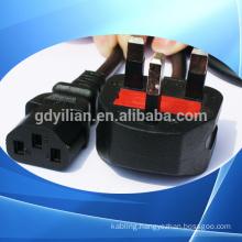 power cord /Power supply 2 pin to 3 pin plug uk plug adapter with fuse CE european to uk plug