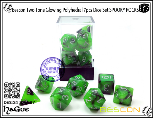 Bescon Two Tone Glowing Polyhedral 7pcs Dice Set SPOOKY ROCKS-6