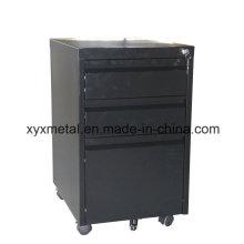 Black 3 Drawer Mobile Pedestal Cabinet Movable Desk-Side Cabinet