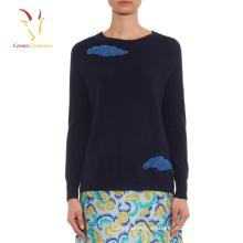 Frauen Bead Trimmen gestrickte Pullover Erdos Cashmere Sweater
