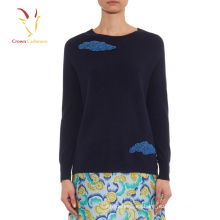 Suéter de punto de corte de abalorios de mujer Suéter de cachemira de Erdos