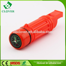 Multifunctional survival using safety plastic whistle