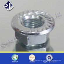 Porca de flange hexagonal de zinco-aço