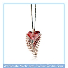 Hot sale 18k gold feather shape ruby sweater necklace 2014