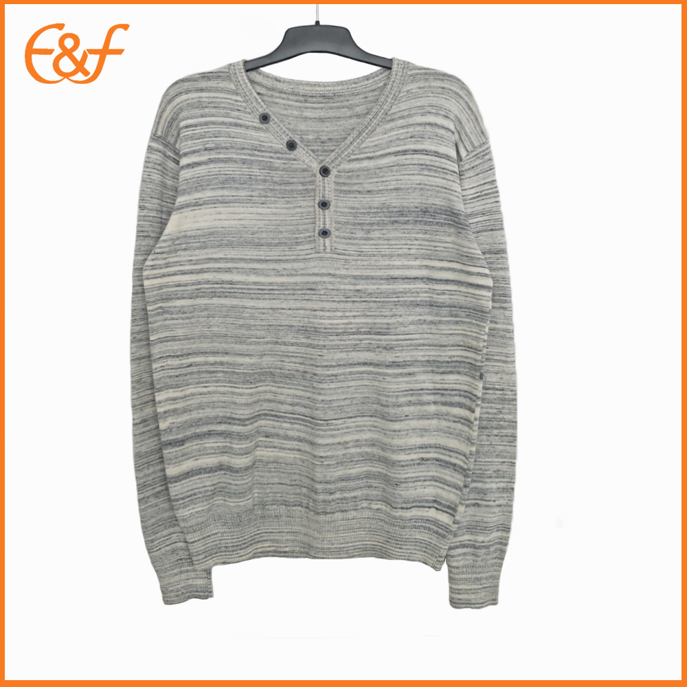 Fashion V Neck Cotton Lad Button Sweater
