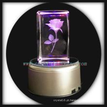 3D laser gravado rosa bloco de cristal com Led base presente de dia dos namorados