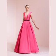 V Neck Satin Prom Party Cocktail Evening Gown