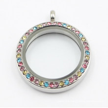 Latest Design Rd Screw on Glass Face Stainless Steel Floating Locket Pendant with Colorful Stones