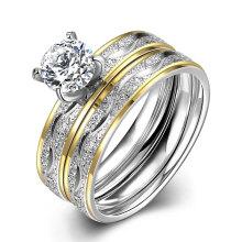 Fashion Titanium Steel Double Ring Rond Zircon Finger Ring Design Plaqué Or pour Femmes