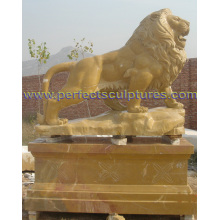 Animal Statue Marble Lion Sculpture for Garden Stone (SY-D138)