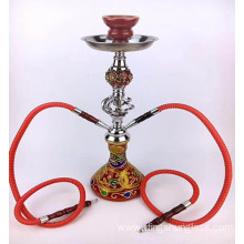 Double tube red glass hookah