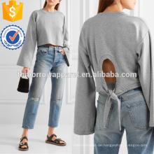 Tie-Back Cropped Baumwollmischung Jersey Sweatshirt Herstellung Großhandel Mode Frauen Bekleidung (TA4093B)