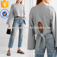 Tie-back T-shirt en jersey de coton mélangé recadrée Fabrication en gros de vêtements pour femmes (TA4093B)