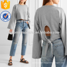 Tie-back Cropped Cotton-blend Jersey Sweatshirt Manufacture Wholesale Fashion Women Apparel (TA4093B)